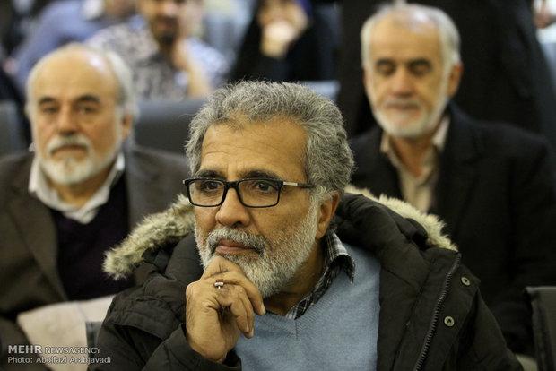 بهروز افخمی کارگردان سینما در نشست خبری دومین دوره مسابقات بین المللی کاریکاتور هولوکاست