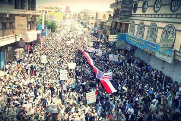 غضب شعبي عارم تنديدًا بحصار التحالف الأمريكي على اليمن