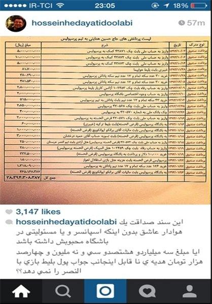 فهرست کمک های حسین هدایتی