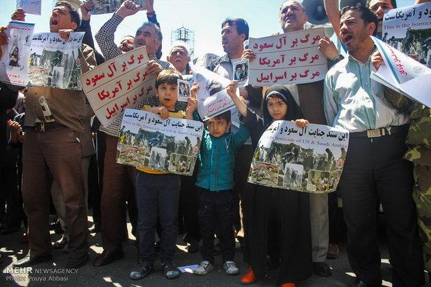 راهپیمائی نمازگزاران تهرانی در حمایت از مردم مظلوم یمن