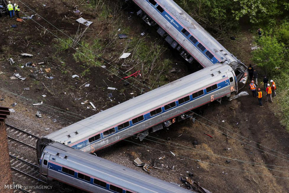 خروج قطار از ریل در آمریکا