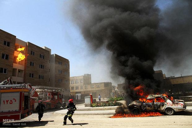 مانور امداد و نجات اطفای حریق در مشهد