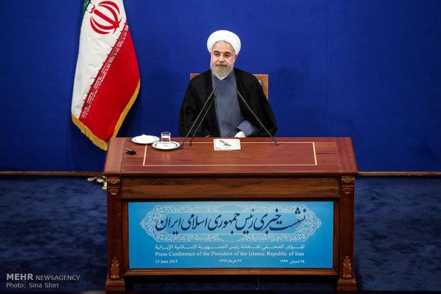 المؤتمر الصحفي لرئيس الجمهورية الاسلامية حسن روحاني