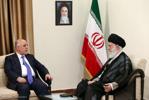 استقبال قائد الثورة الاسلامية آية الله الخامنئي رئيس الوزراء العراقي حيدر العبادي