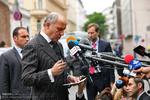 ورود لوران فابیوس وزیر خارجه فرانسه به هتل کوبورگ محل مذاکرات هسته ای ایران و ۱+۵