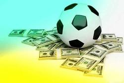 توپ فوتبال و دلار و اسکناس