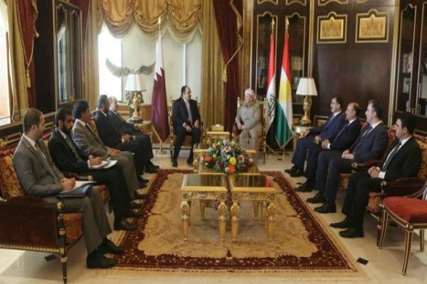 دیدار رئیس اقلیم کردستان عراق با وزیر خارجه قطر در اربیل