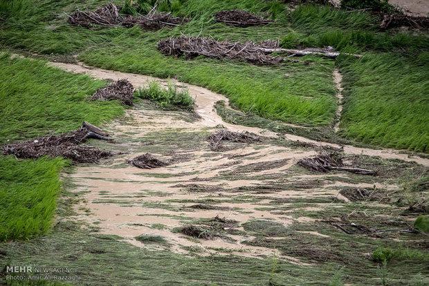 خسارت سیلاب در منطقه چهاردانگه مازندران