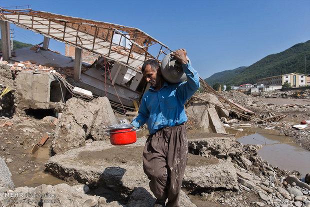 خسارت سیلاب در شهر زیرآب