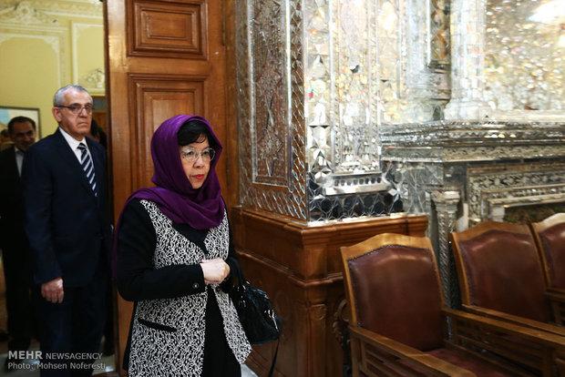 لقاء مديرة منظمة الصحة العالمية مع رئيس مجلس الشورى الاسلامي
