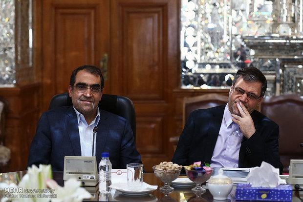 دلقاء مديرة منظمة الصحة العالمية مع رئيس مجلس الشورى الاسلامي