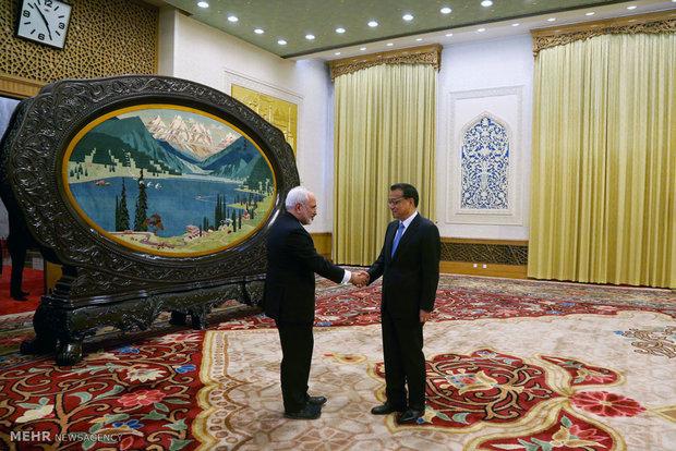 رئيس مجلس الدولة الصيني يستقبل وزير الخارجية الايراني