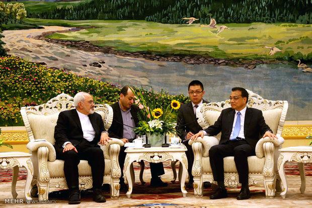 وزير الخارجية الايراني يلتقي مع رئيس مجلس الدولة الصيني