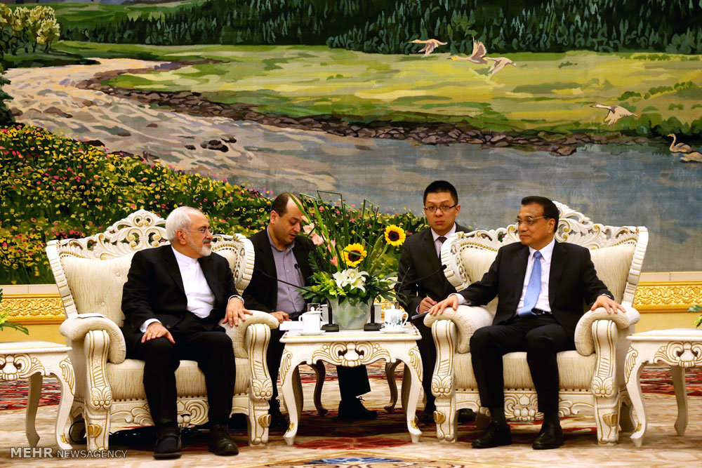 لقاء وزير الخارجية الايراني مع رئيس مجلس الدولة الصيني