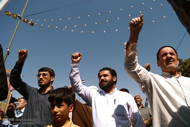 فیلم/تظاهرات وارثان قیام ۱۵ خرداد در محکومیت اتفاقات اخیر در منا