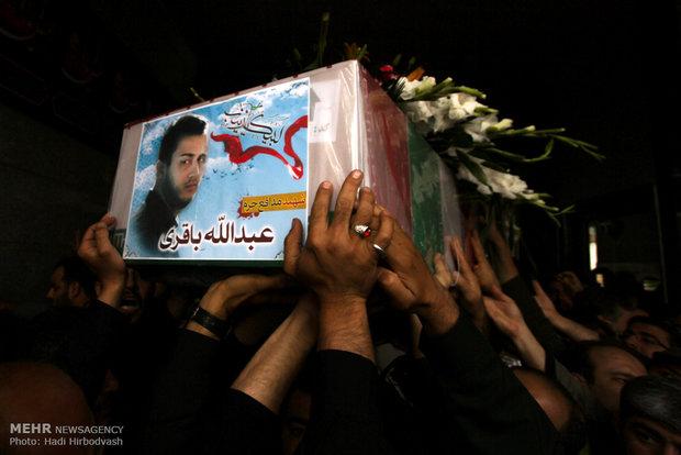 راسم تشييع جثماني الشهيدين الايرانيين اللذين كانا يدافعان عن مقام السيدة زينب (سلام الله عليها) والعتبات المقدسة في سوريا