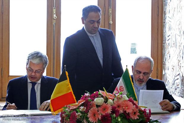 لقاء وزير الخارجية ايران محمد جواد ظريف نظيره البلجيكي