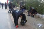 مسیر پیادهروی اربعین توسط دانشجویان ایرانی نظافت شد