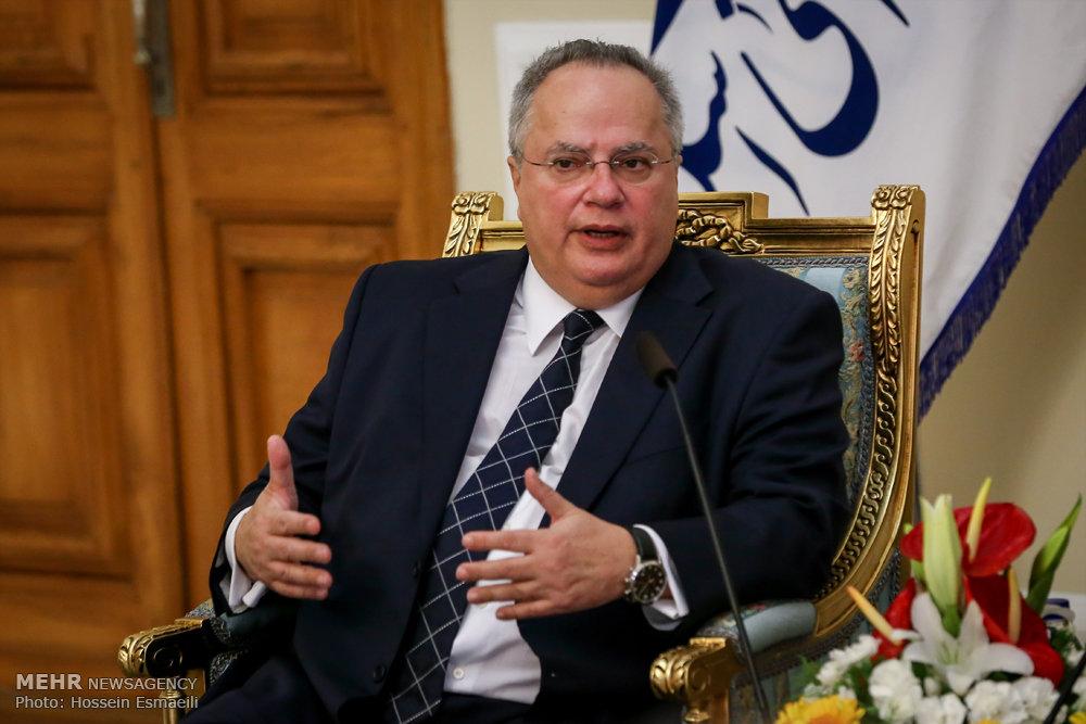 لقاء وزير الخارجية اليوناني و رئيس مجلس الشورى الإسلامي علي لاريجاني