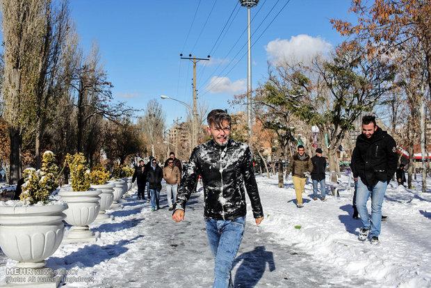 بارش برف در تبریز Autumn snow covers Tabriz