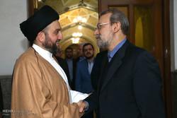 رئيس مجلس الشورى الاسلامي يستقبل السيد عمار الحكيم