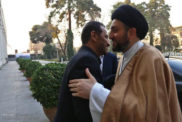 رئيس مجلس الشورى الاسلامي يستقبل رئيس المجلس الاعلى الاسلامي العراقي