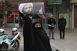 راهپیمایی اعتراض آمیز مردم قم نسبت به اعدام شیخ النمر