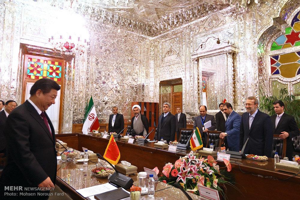 لقاء رئيس جمهورية الصين مع رئيس مجلس الشورى الاسلامي