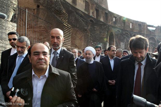 الرئيس روحاني يقوم بجولة تفقدية لمجموعة كولوسيوم التاريخية في روما