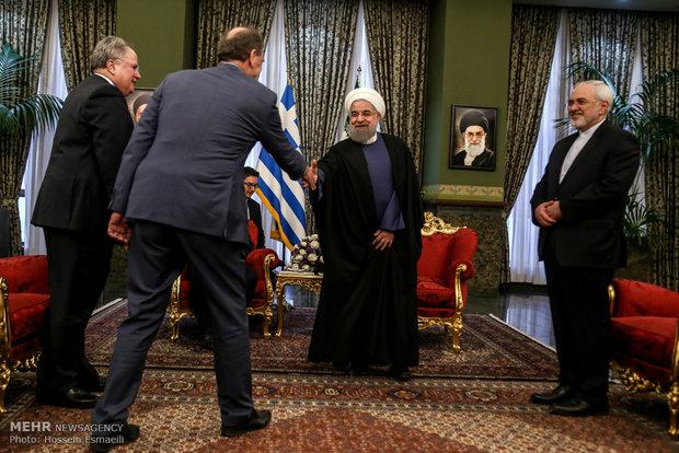 دیدار آلکسیس سیپراس نخست وزیر یونان با حجت الاسلام حسن روحانی رئیس جمهور