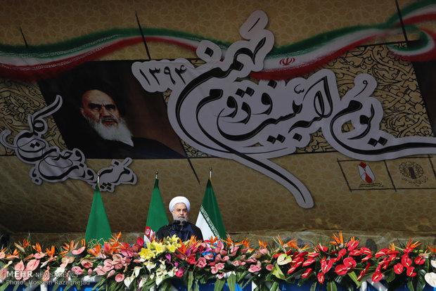 سخنرانی رئیس جمهور در مراسم راهپیمایی یوم الله 22 بهمن