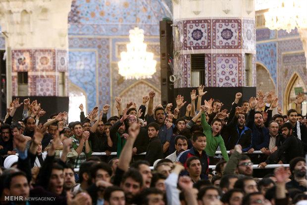 مراسم ترحیم آیتالله طبسی در حرم رضوی با حضور رهبر انقلاب