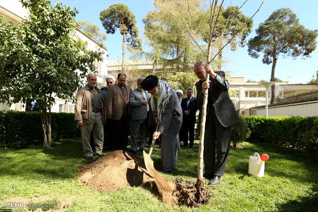 Leader plants tree on Week of Natural Resources