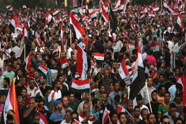 بغداد میں بڑے پیمانے پر عوامی  مظاہرہ