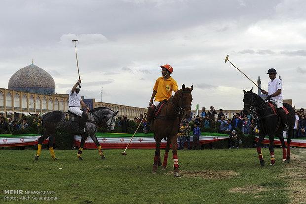 Playing polo at Naghsh-e Jahan Sq. in Isfahan