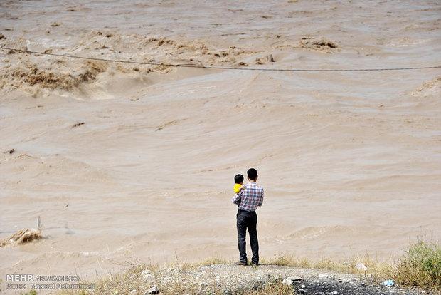 طغیان آب رودخانه در شمال خوزستان