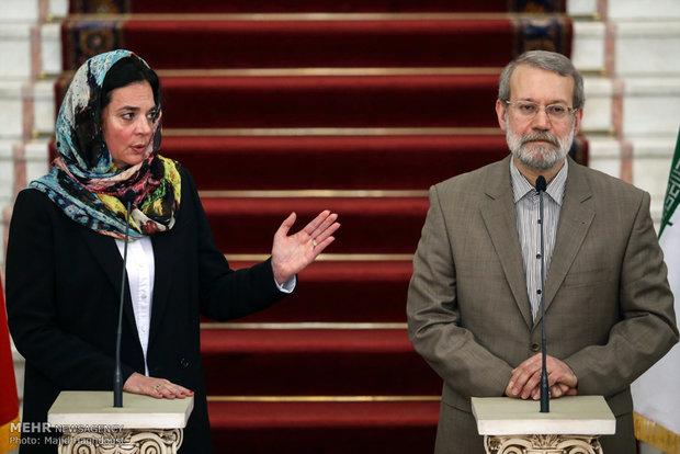 دیدار و گفتگو کریستین دوفرین رییس مجلس سنای بلژیک با علی لاریجانی رییس مجلس شورای اسلامی