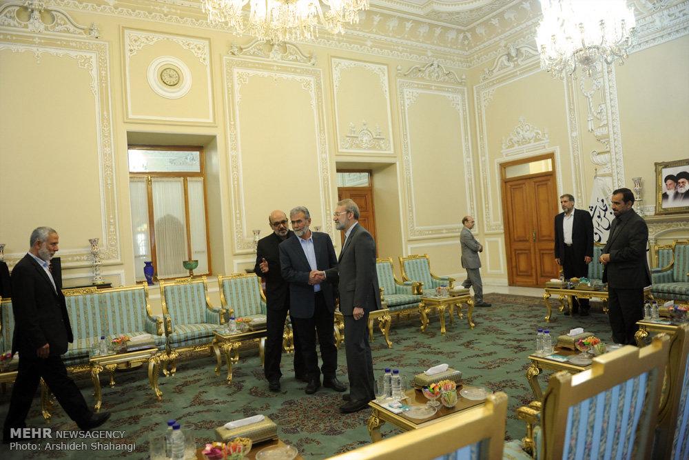 دیدار دبیرکل جنبش جهاد اسلامی فلسطین با رئیس مجلس شورای اسلامی