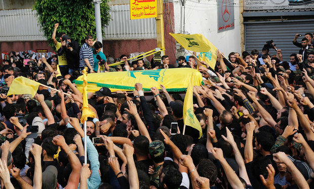 Hezbollah supporters participate in Badreddine's funeral in Beirut