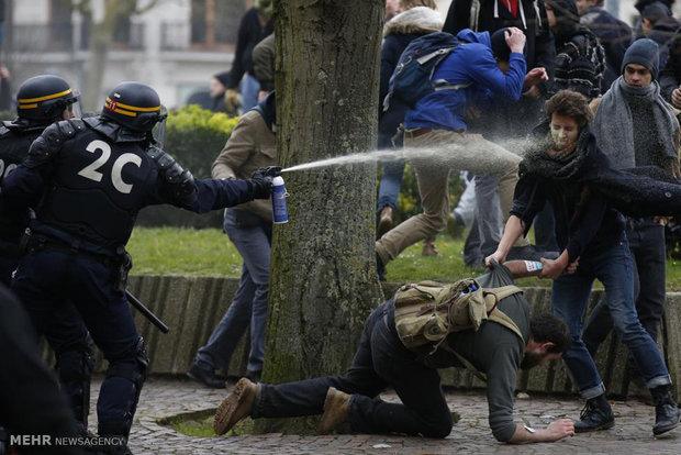 الشرطة الفرنسية تقمع المتظاهرين