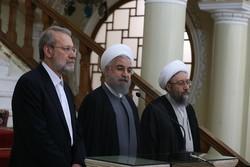 نشست سران سه قوه/ روحانی، علی لاریجانی، صادق لاریجانی