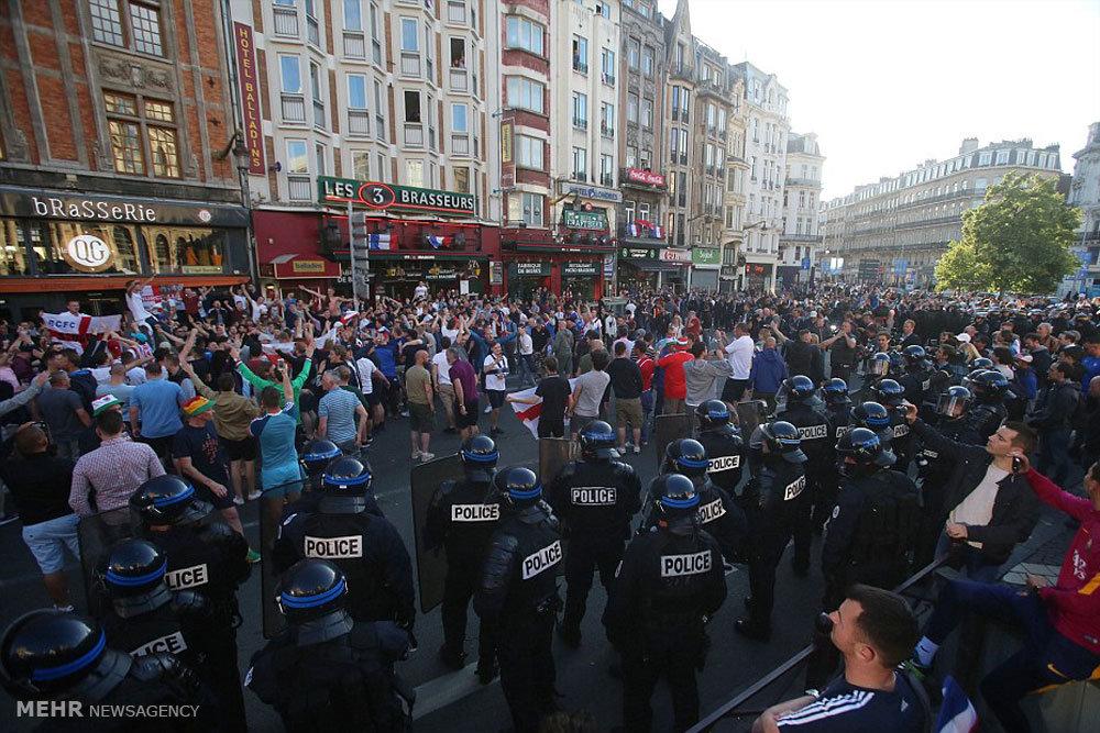 حمله پلیس فرانسه به طرفداران آشوبگر انگلیسی
