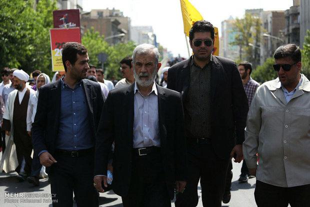 مشاركة آية الله هاشمي رفسنجاني في مسيرة يوم القدس العالمي