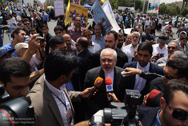 مشاركة وزير الخارجية محمد جواد ظريف في مسيرة يوم القدس العالمي