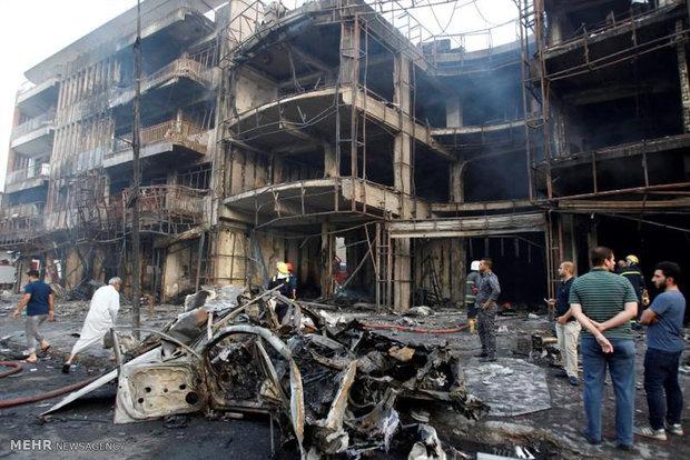 مشاهد من الدمار الذي خلفه التفجير الاجرامي في بغداد