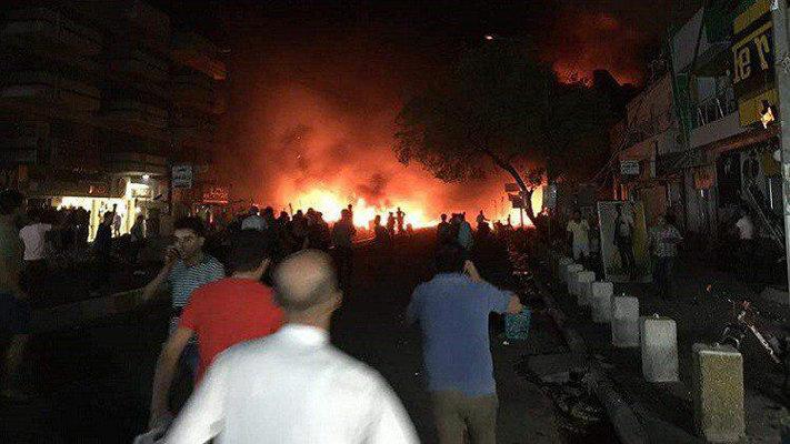 لحظة التفجير الارهابي في منطقة الكرادة