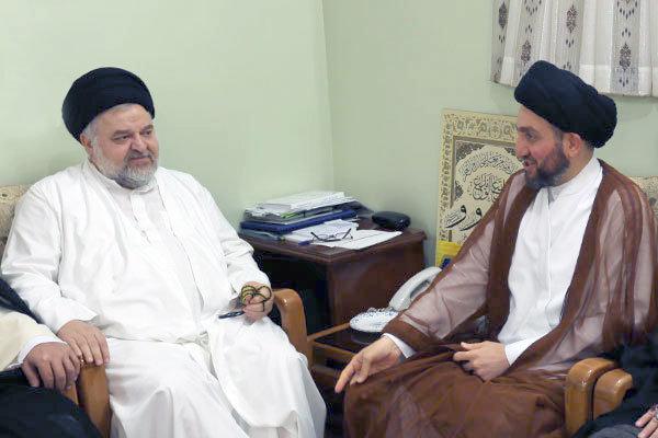 سید عمار حکیم با نماینده آیت الله سیستانی دیدار کرد