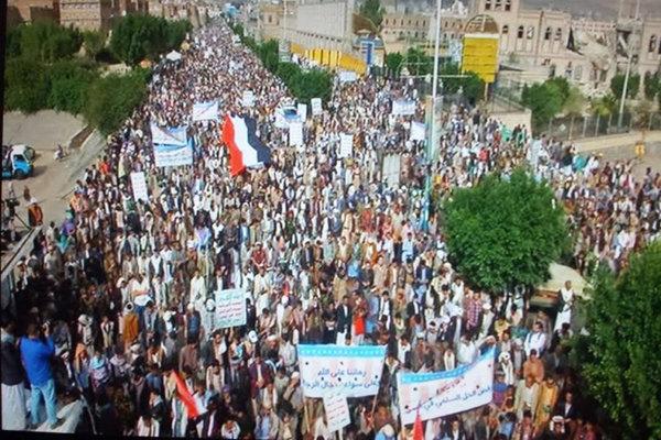 راهپیمایی در یمن  برگزاری تظاهرات گسترده مردم یمن در اعتراض به مداخله آمریکا در یمن 2144580