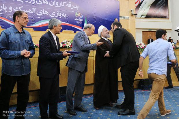 حفل توديع قافلة لاعبي الأولمبية وأولمبياد بحضور الرئيس روحاني