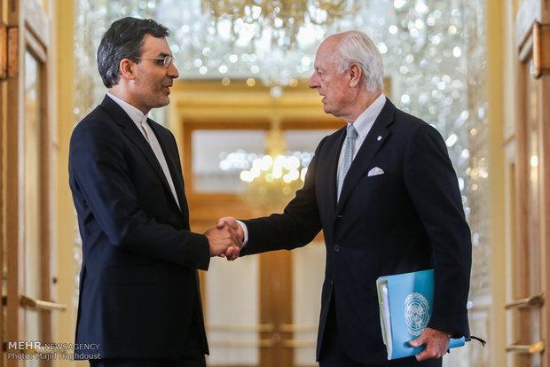 گفتگو و دیدار دی میستورا نماینده دبیر کل سازمان ملل با حسین جابر انصاری معاون وزیر امور خارجه